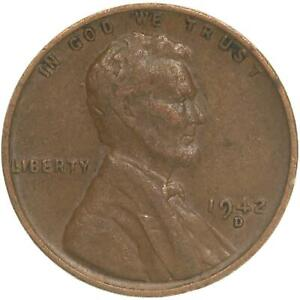 1942 D LINCOLN WHEAT CENT FINE PENNY VF