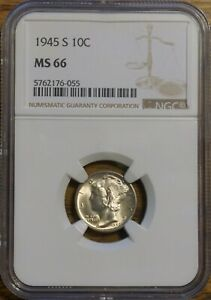 1945 S MERCURY DIME GRADED MS 66 BY NGC   5762176 055 SOME TONE