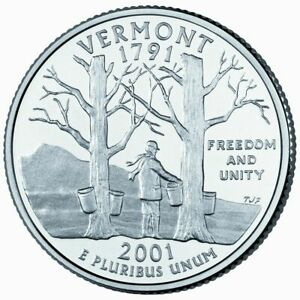 2001 D VERMONT STATE QUARTER UNCIRCULATED OBW $10 ROLL HEADS/TAILS
