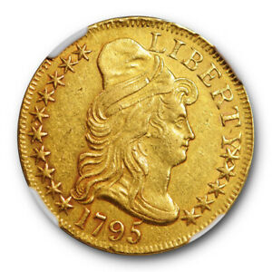 1795 SMALL EAGLE $5 DRAPED BUST EARLY GOLD NGC AU ABOUT UNCIRCULATED DETAILS