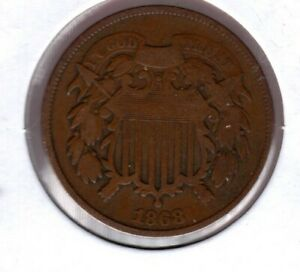 1868 2 CENT PIECE GRADES A NICE STRONG GOOD     JC239