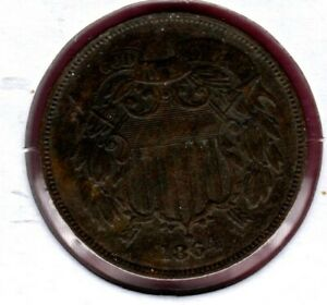 1864 LM 2 CENT PIECE GRADES VF BOLD MOTTO 180 DEGREE REV. ROTATION NICE   C2236