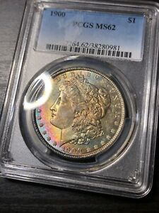 1900 MORGAN SILVER DOLLAR PCGS MS62 RAINBOW TONED OBVERSE  DATE GORGEOUS WOW