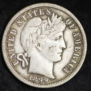 1899 S BARBER DIME CHOICE VF  E229 ANN