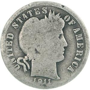 1911 D BARBER DIME 90  SILVER ABOUT GOOD AG