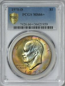 Click now to see the BUY IT NOW Price! 1978 D EISENHOWER DOLLAR PCGS MS66    SECURE HOLDER   TONING