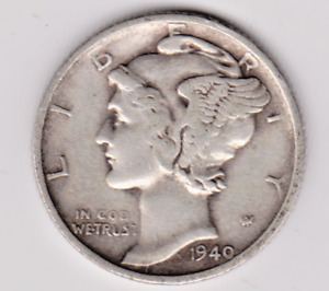 1940 S  MERCURY DIME IN FINE CONDITION .STK MD 107