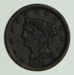 1851 BRAIDED HAIR HALF CENT   CIRCULATED  7461