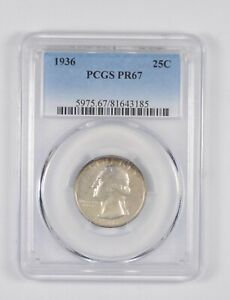 Click now to see the BUY IT NOW Price! PR67 1936 WASHINGTON QUARTER   GRADED PCGS  7493