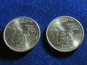 US 2004 D & 2004 P MICHIGAN STATE QUARTERS.