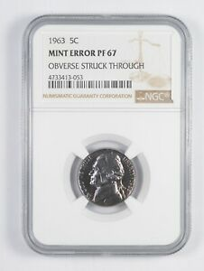 Click now to see the BUY IT NOW Price! PF67 1963 JEFFERSON NICKEL   ERROR: OBV STRUCK THROUGH   PURPLE TONING NGC  7809