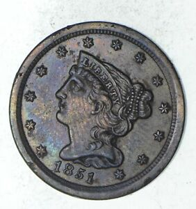 1851 BRAIDED HAIR HALF CENT   CHOICE  9328