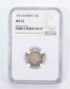 MS63 1916 BARBER HEAD DIME   GRADED BY NGC  0060