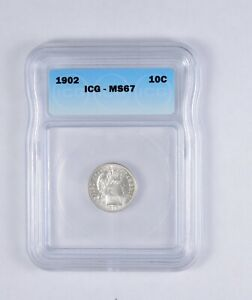 MS67 1902 BARBER DIME   GRADED ICG  2127