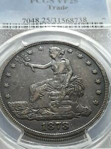 OLD WEST PCGS VF 25 1878  S TRADE DOLLAR CERT 31568738 CLOSE UP PICTURES