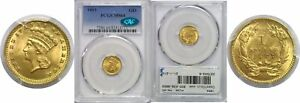 1883 $1 GOLD COIN PCGS MS 64 CAC