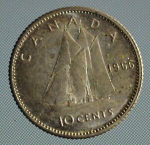 1966 CANADIAN DIME   THIS 10 CENT COIN IS 80  SILVER