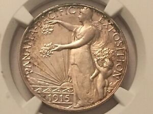 1915 S PANAMA PACIFIC COMMEMORATIVE HALF DOLLAR AU DETAILS CLEANED