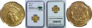 1860 $3 GOLD COIN NGC AU 58 CAC