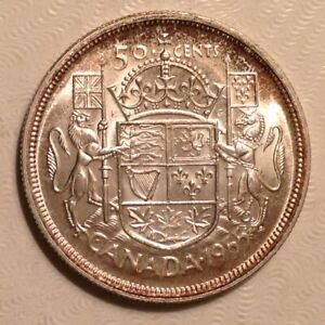 1955  CANADA ELIZABETH II 50 CENTS UNCIRCULATED UNC
