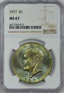 Click now to see the BUY IT NOW Price! 1977 EISENHOWER DOLLAR NGC MS67   STUNNING GREEN GOLD TONING    TOP POP
