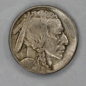 1919 BUFFALO NICKEL 5C XF / AU EXTRA FINE TO ABOUT UNCIRCULATED  1040