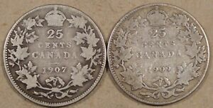 CANADA 1907   1909 QUARTER OR TWENTY FIVE CENTS AS PICTURED