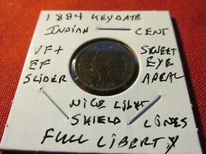 1884 INDIAN HEAD CENT FINE PLUS EXTRA FINE  SWEET EYE APPEAL FULL LIBERTY