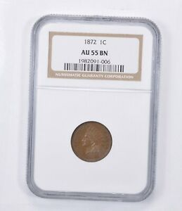 AU55 BN 1872 INDIAN HEAD CENT   GRADED NGC  1347