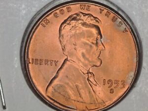 1953 S LINCOLN WHEAT CENT  SOLID GEM BU