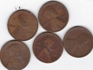 1909P 1911D 1912D 1913D 1915D LINCOLN WHEAT CENTS SEMI KEY CIRCULATED IMPERFECT