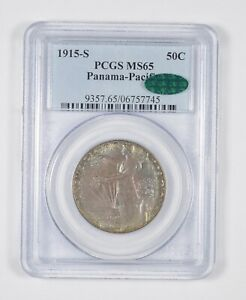 Click now to see the BUY IT NOW Price! MS65 CAC 1915 S PANAMA PACIFIC COMMEMORATIVE HALF DOLLAR   TONED   PCGS  8059