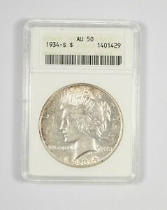 AU50 1934 S PEACE SILVER DOLLAR   GRADED ANACS  8043