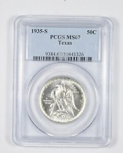 MS67 1935 S TEXAS INDEPENDENCE COMMEMORATIVE HALF DOLLAR   GRADED PCGS  8140