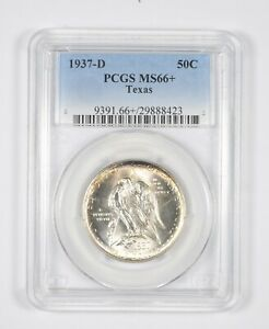 MS66  1937 D TEXAS INDEPENDENCE COMMEMORATIVE HALF DOLLAR   GRADED PCGS  8068