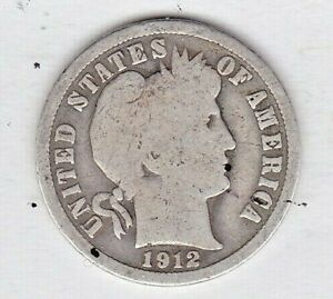 1912 D BARBER DIME IN GOOD  CONDITION STK CC8  FULL RIM ON BOTH SIDES