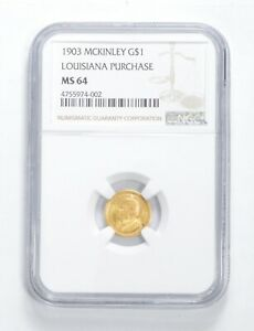 MS64 1903 $1.00 LOUISIANA PURCHASE MCKINLEY COMMEMORATIVE GOLD GRADED NGC  7948
