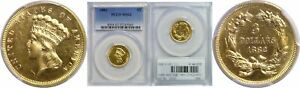 1882 $3 GOLD COIN PCGS MS 62
