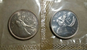 LOT OF 2 QUARTERS CANADA 1965 1966 SILVER 25 CENTS UNC SEALED PROOFLIKE