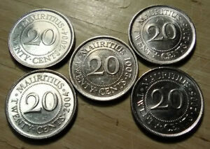 WORLD COIN LOT MAURITIUS 5 COINS 20 CENTS 2001 2004 2005