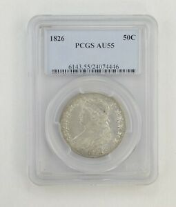 AU55 1826 CAPPED BUST HALF DOLLAR   PCGS GRADED  0415