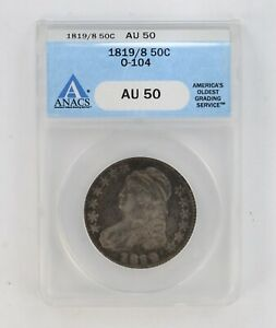AU50 1819/9 CAPPED BUST HALF DOLLAR   ANACS 475 GRADED  8306
