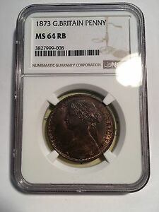 GREAT BRITAIN VICTORIA  1873 1 PENNY CHOICE UNCIRCULATED  CERTIFIED NGC MS64RB