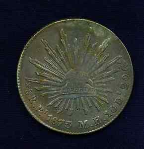 MEXICO SAN LUIS POTOSI MINT 1873 PIMH  8 REALES SILVER COIN ALMOST UNCIRCULATED