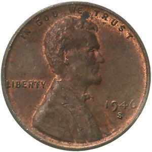 1946 S LINCOLN WHEAT CENT ABOUT UNCIRCULATED PENNY AU