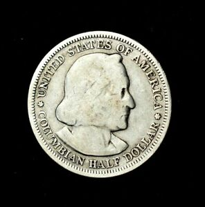 1893 F COLUMBIAN EXPOSITION HALF DOLLAR 90  SILVER COMBINED SHIPPING