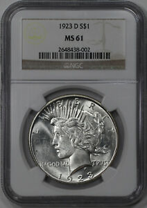 1923 D PEACE SILVER DOLLAR $1 NGC CERTIFIED MS 61 MINT STATE UNCIRCULATED  38002