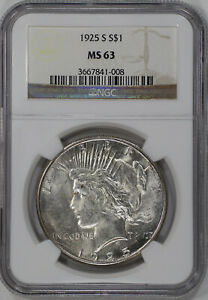 1925 S PEACE SILVER DOLLAR $1 NGC CERTIFIED MS 63 MINT STATE UNCIRCULATED  41008