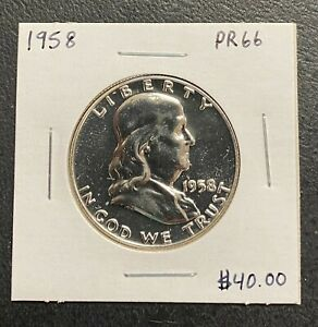 1958 P FRANKLIN HALF DOLLAR   GEM PROOF CONDITION  $2.95 MAX SHIPPING  C3391