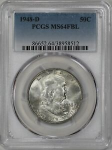 1948 D FRANKLIN HALF DOLLAR 50C PCGS CERTIFIED MS 64 FBL FULL BELL LINES  512